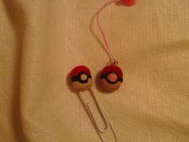 pokeball bookmark and charm by legoninjagogirl