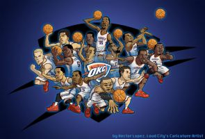 Cartoon of OKC thunder Players by heckthor