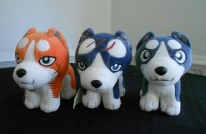Riki, Gin, and Weed Plushies by FlickaBee