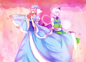 Yuyuko and Youmu by mintgold-sky