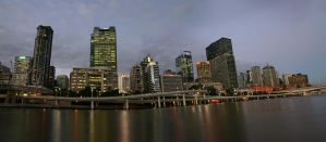 Brisbane Night Cityscape by Danwhitedesigns