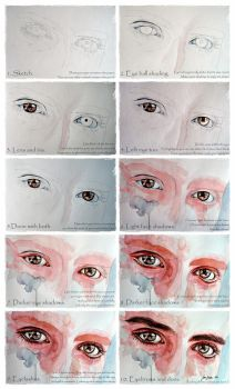 Watercolor eyes in flesh tone tutorial by jane-beata