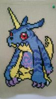 Gabumon cross stitch by Exloster