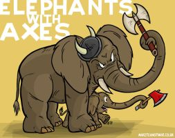 Elephants with Axes by GagaMan