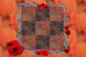 Red And Orange Floral Design by CardenIndustriesInc