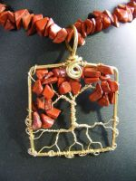 Red Jasper Chip Leaves With Brass Bark by BacktoEarthCreations