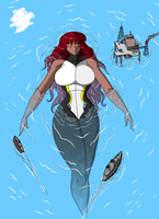Exhausted Goddess on the sea by Godforoth
