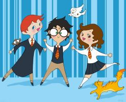 The Gang: Harry, Ron and Hermy by spicysteweddemon