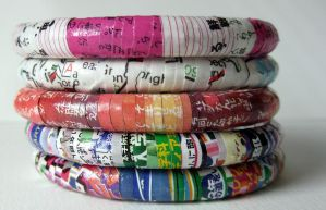 Recycled Magazine Bangles by roserevolution
