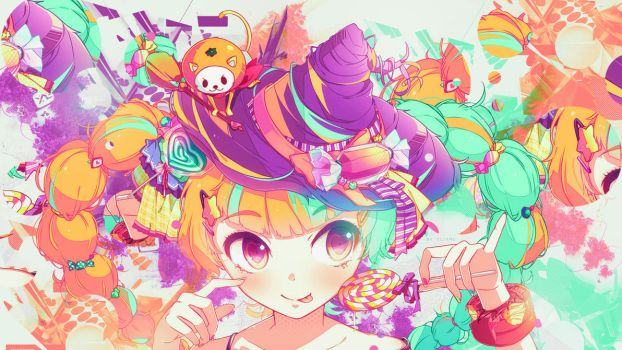 Wallpaper Colorful Kawaii Witch and sweet by Nagamii-Chan