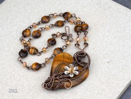 Tiger eye heart necklace by IanirasArtifacts