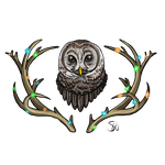 Owl and Antler Design by TheStormUnleashed