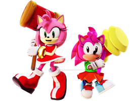 [MMD] Amy Rose and Rosy The Rascal by YelenBrownRaccoon