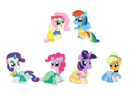 Main 6 Mares as Disney Princess by Dulcechica19