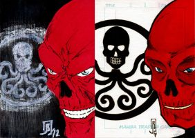 Red Skull cards by giberwitz