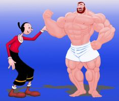 Olive Oyl and Bluto by Blathering