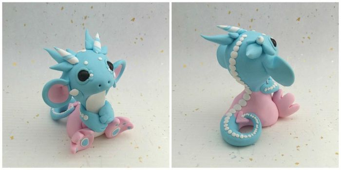 Pink and Blue Marshmallow Dragon by Critterkins