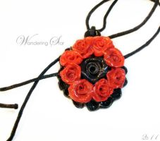 Polymer Clay Rose necklace by rocksoulgirl