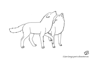 FREE lineart - howling wolves by Jenny2-point-0