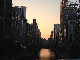 Osaka nightfall by Melbourne-Cha