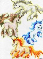 Elemental unicorns by CalypsoSilverhawk