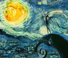Skellington meets starry night print by opheliact
