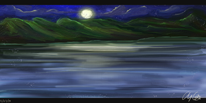 Moonlit Waters~ (Painting Practice) by Aloubell