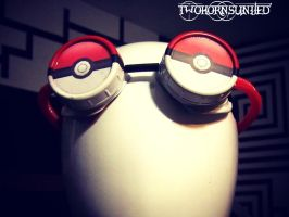 Pokeball video game head-wear rave goggles by TwoHornsUnited