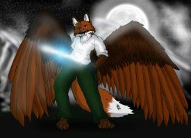 Winged Anthro fox by turnsky