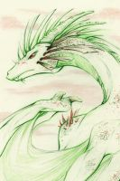 Green dragon - Sketch commission example A by lirale