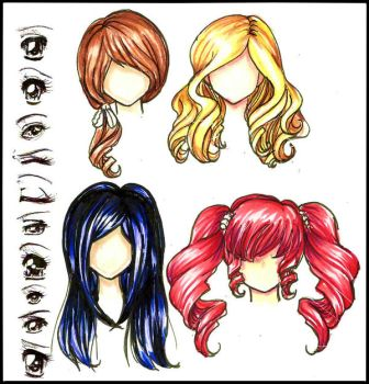 Manga/Anime Eyes and Hair. colored by Lettelira