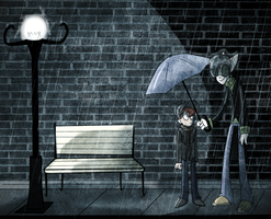 Friends in the Rain by theStupidButterfly