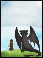 Toothless and Hiccup by MissFuzzbutt