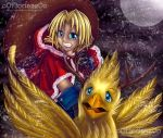 Christmas Card 2015 - FF9 - Riding a Chocobo by oOFlorianeOo
