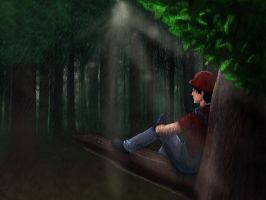 Under Trees During Rain by DazeDawning
