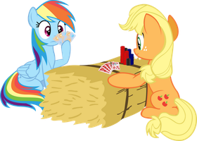 Rainbow Dash and Applejack poker by RichHap