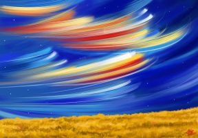 line Sky with land by Khushiart