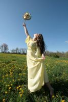 yellow girl flys away by eyefeather-stock