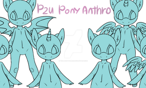P2U Pony Anthro Base by Tea-Adoptables