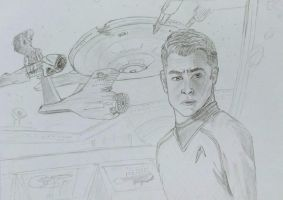 James Kirk and his ship by kedrednael