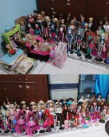 Monster High and Barbie dolls by seawaterwitch