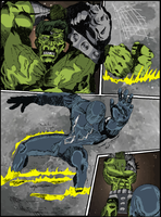 Hulk comic page 3 color by hiasi