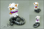 Shiro the Snow Leopard Griffin - polymer clay by CalicoGriffin