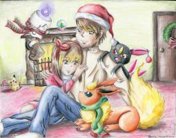 Spending Christmas by the fire by EmpressBlackWings