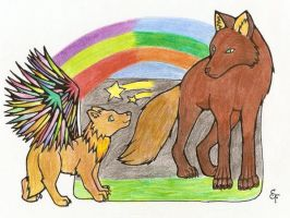 -Wolf which had rainbow wings- by Acid-Vertigo