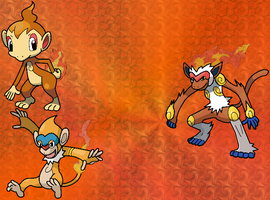 Chimchar family by Sophonax-Skitty