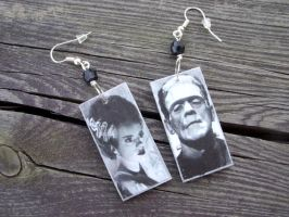 Frankenstein's Bride earrings by kickthebucket