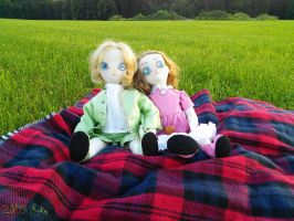 Twin Picnic by AntiqueGarden