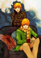 Weasley Twins-colored by kendravixie