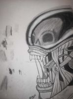 First Ever Charcoal Xenomorph by ChiisaiKabocha17